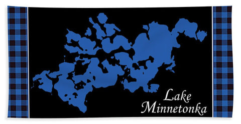 Lake Minnetonka Map With Black Background - Bath Towel