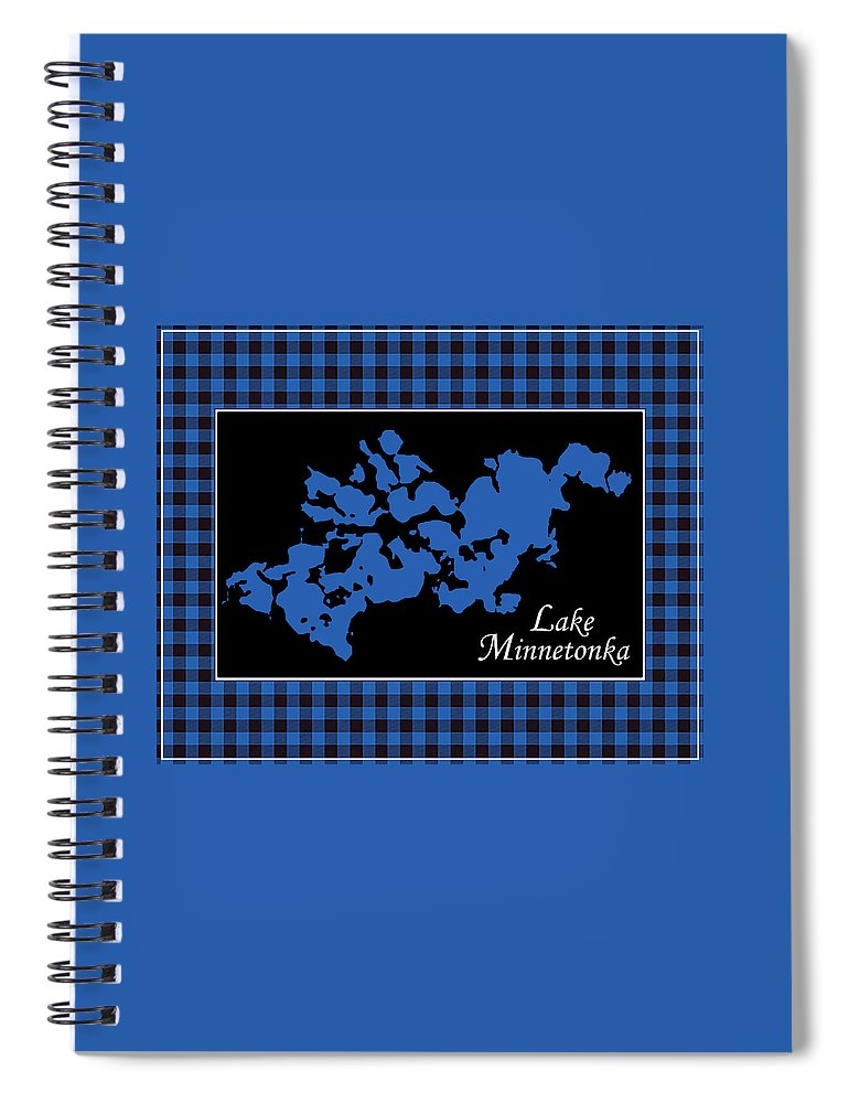 Lake Minnetonka Map With Black Background - Spiral Notebook
