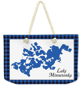 Lake Minnetonka Map With White Background - Weekender Tote Bag