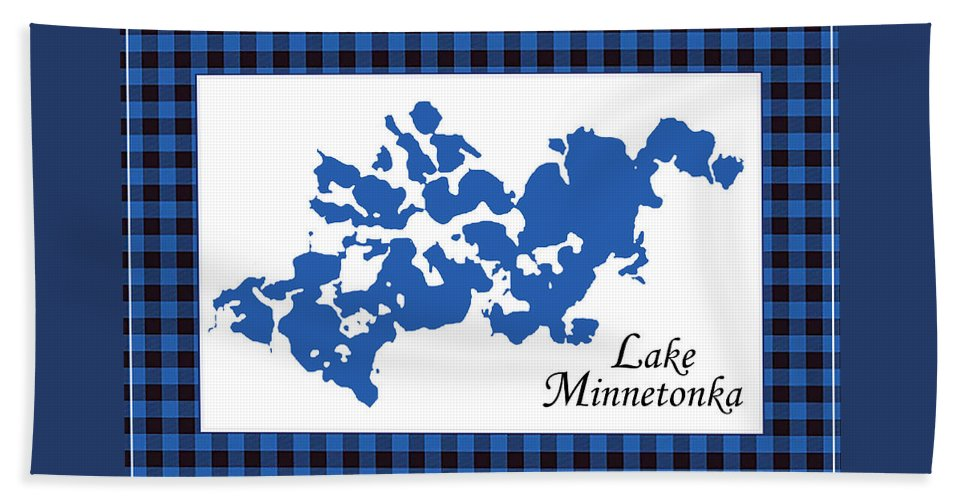 Lake Minnetonka Map With White Background - Beach Towel