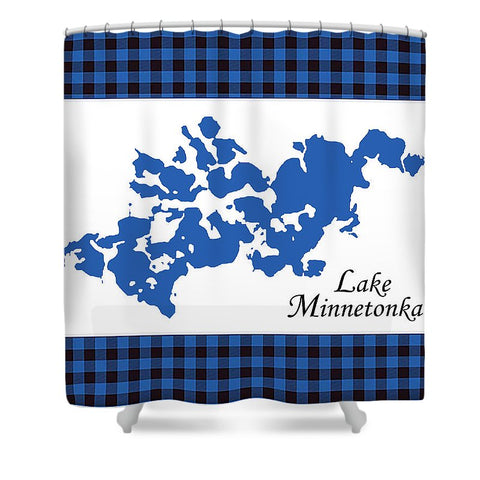 Lake Minnetonka Map With White Background - Shower Curtain