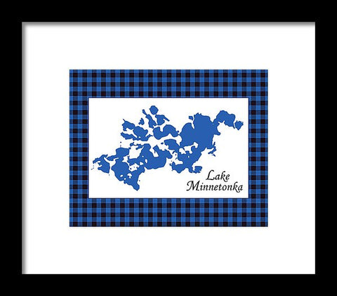 Lake Minnetonka Map With White Background - Framed Print