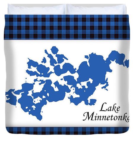 Lake Minnetonka Map With White Background - Duvet Cover