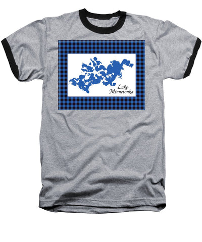 Lake Minnetonka Map With White Background - Baseball T-Shirt