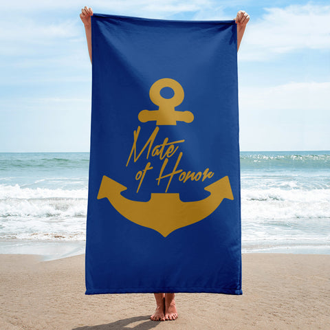 Mate of Honor Beach Towel - Bachelorette Party with Nautical Theme Gift