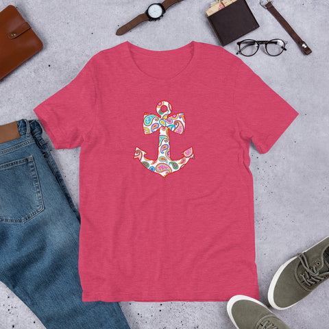 Paisley Anchor Short-Sleeve Unisex T-Shirt S6pg