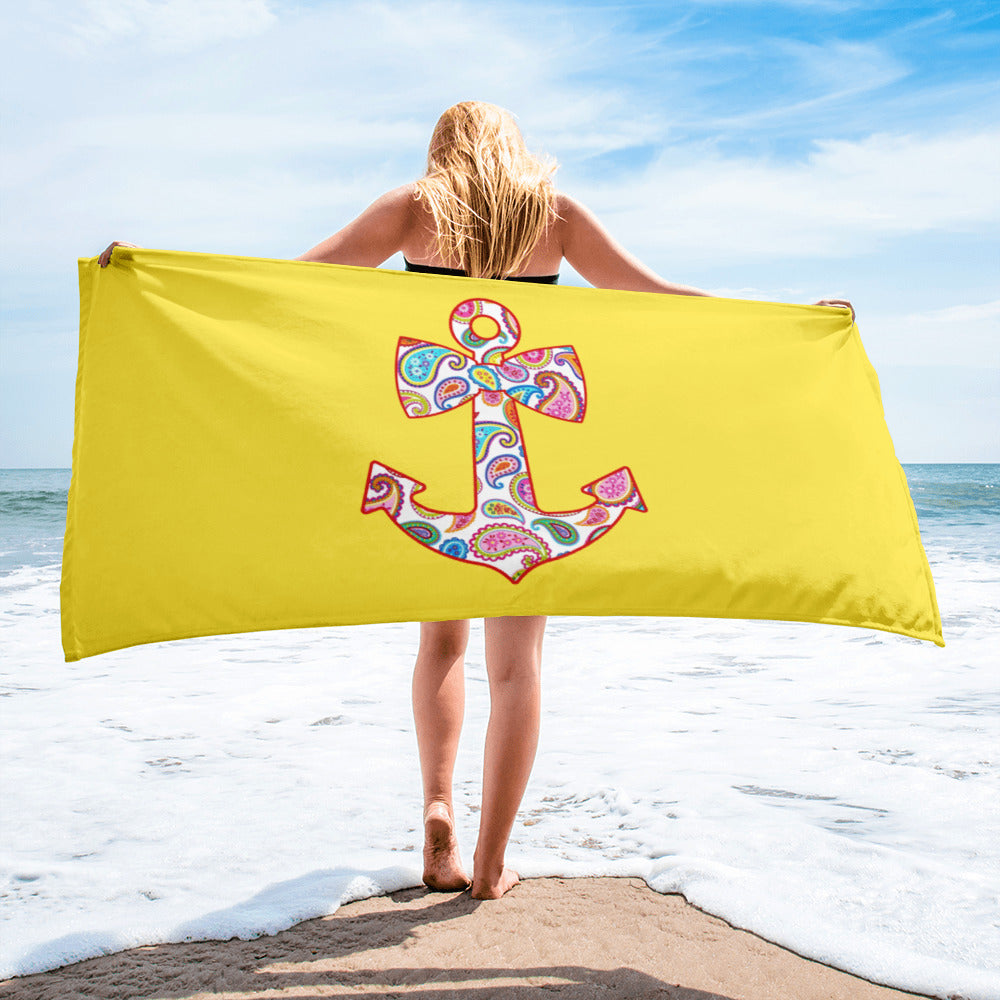 Large Sweet Anchor Beach Towel - Clean Boater Pledge by Pontoon Girl®