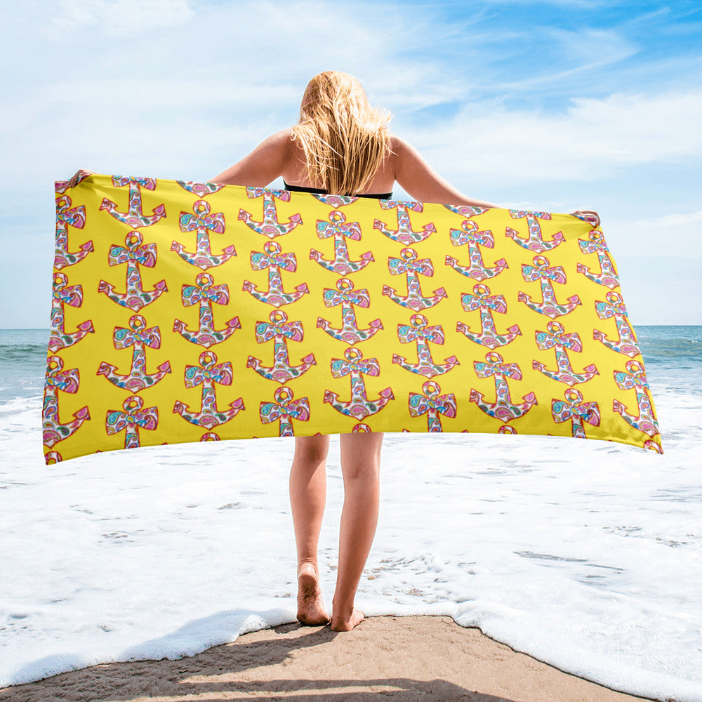 Sweet Anchor Beach Towel with Yellow Background
