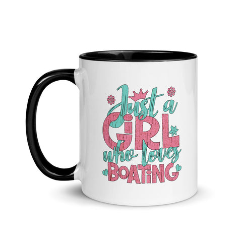 Just a Girl Who Loves Boating - Mug with Color Inside