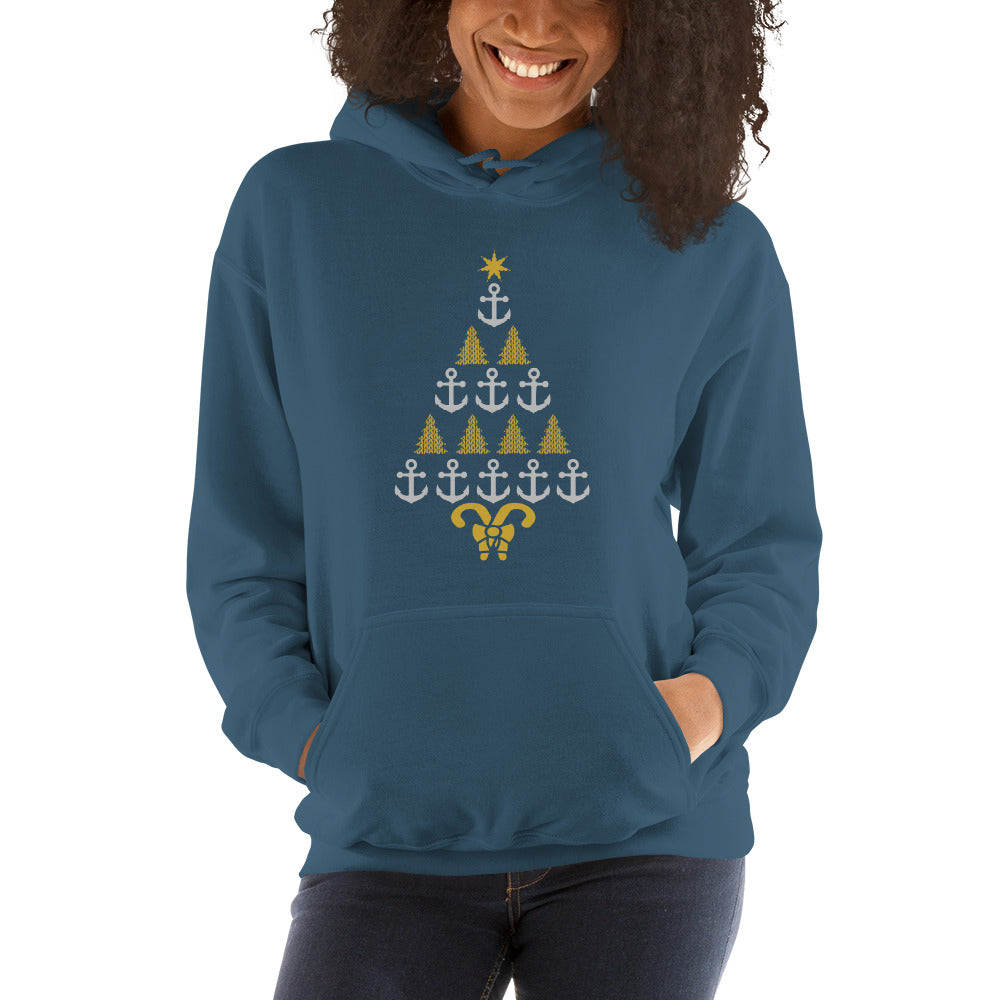 Pontoon Girl - Nautical Christmas Tree - Unisex Hoodie