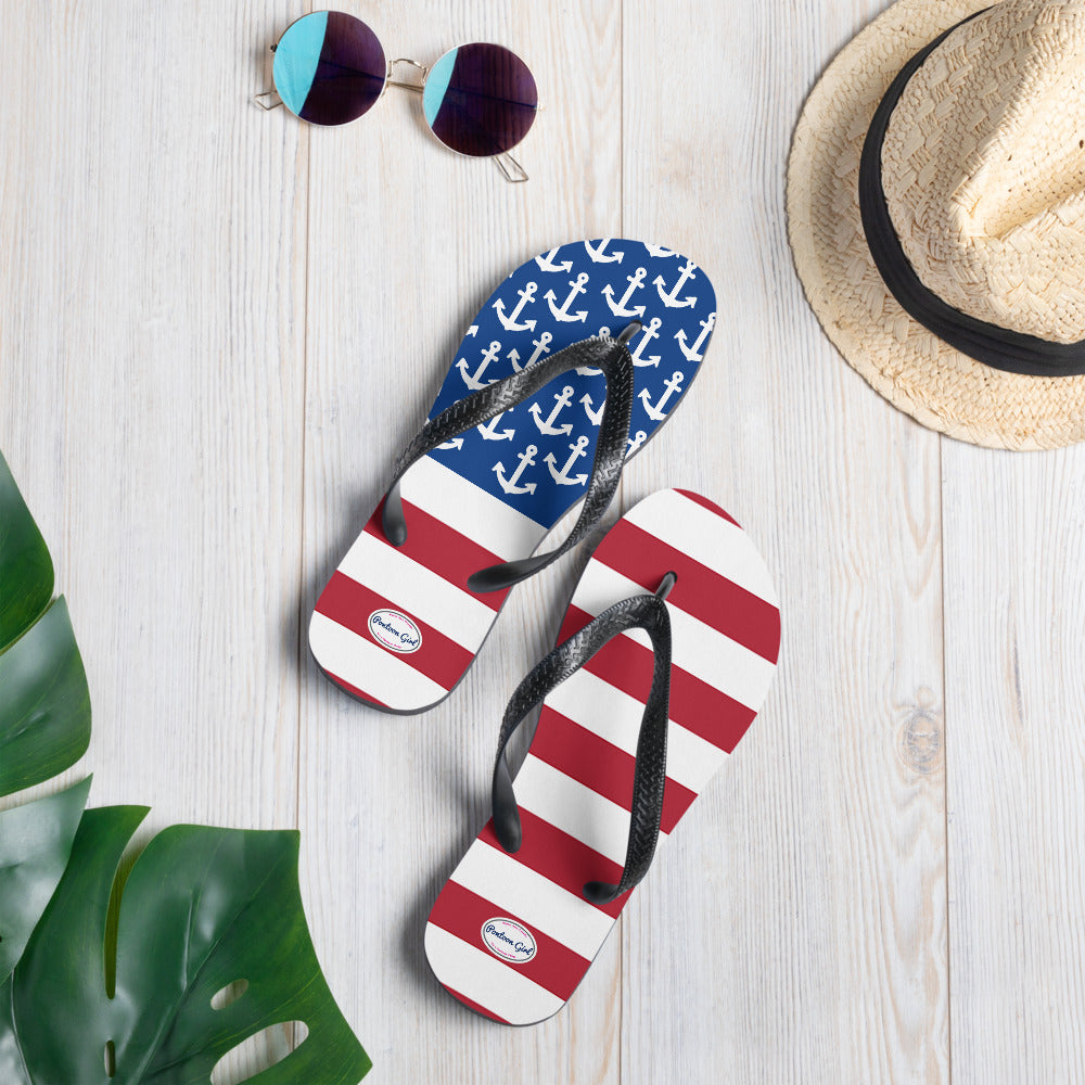 Pontoon Girl - American Flag Anchor Design Flip-Flops