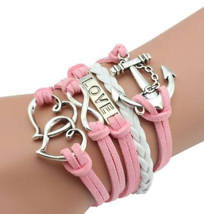 Anchors, Hearts & Love... OH MY Bracelet - Pink