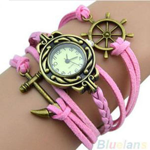 Pink Ship's Wheel and Anchor Watch
