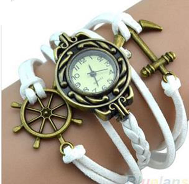 White Ship's Wheel and Anchor Watch