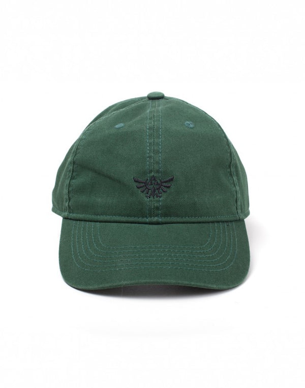 NINTENDO Legend of Zelda: Embroidered Hyrule Crest Stone Washed Denim Dad Cap - Green