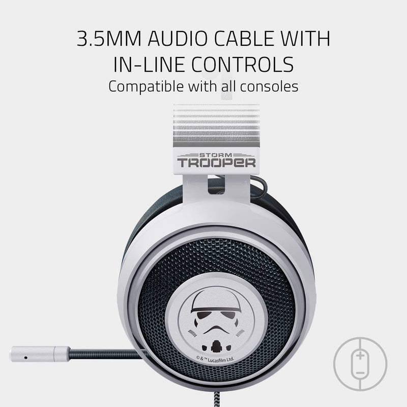 Razer Kraken Stormtrooper Edition - Wired Gaming Headset with Cooling Gel Earpads, Multi-Platform Compatible
