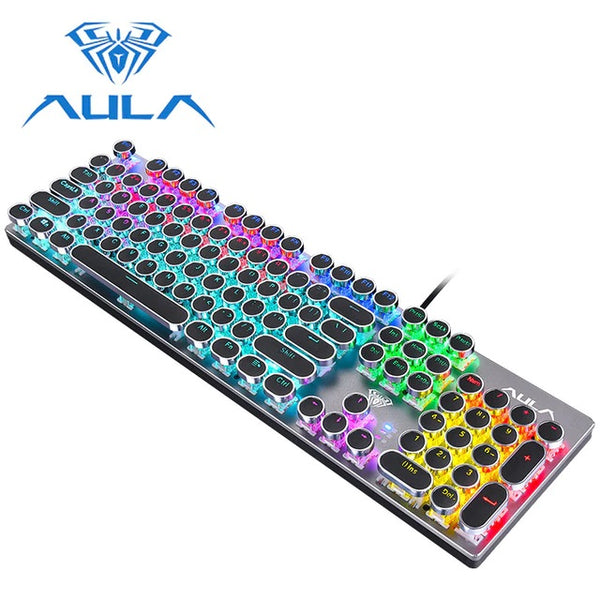 AULA  SZ016 Mechanical Keyboard Retro Punk Metal Wired RGB Backlight