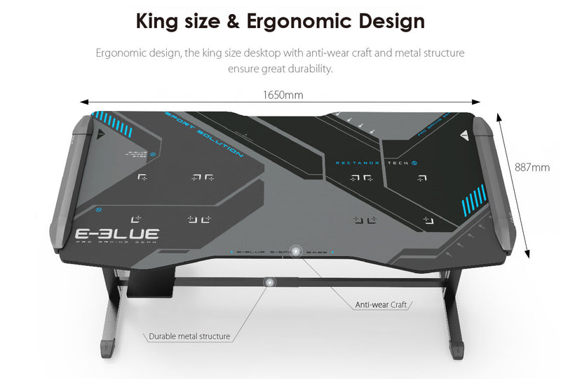 E-Blue EGT576 KING SIZE HEIGHT-ADJUSTABLE RGB GAMING DESK (BOX)