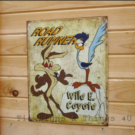 Vintage Decor Signs -  Road Runner Wile E Coyote   TIN Sign Vintage Looney Tune Cartoon   Metal Wall Decor 1888