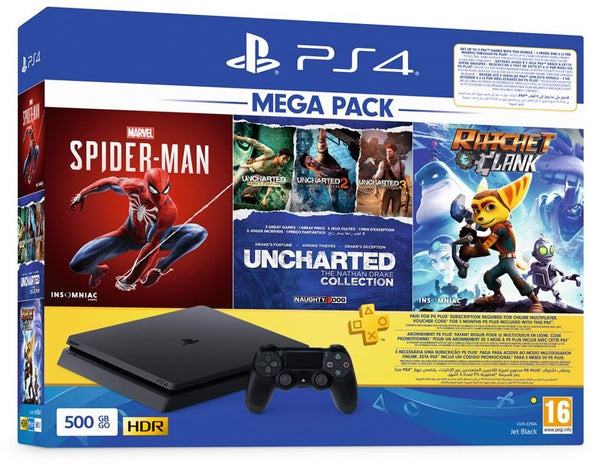 PlayStation 4 500 GB Mega Pack Bundle With 3 Games + PSN Plus 3 Month KW - R2