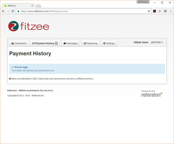 Payment history page
