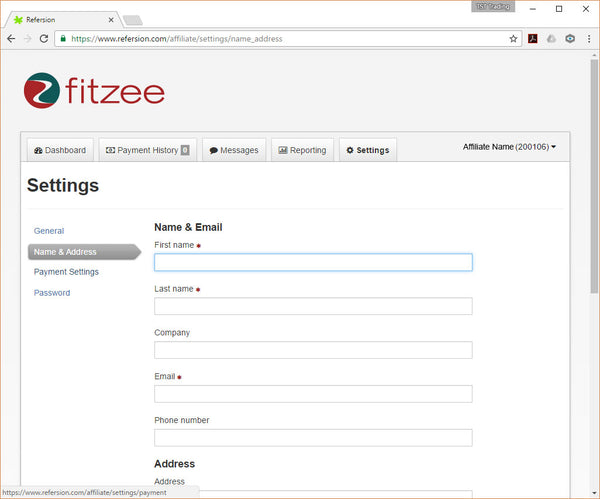 FitZee Affiliate Program - Setttings - Name and Address