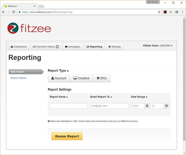 FitZee Affiliate Program - Reports Page