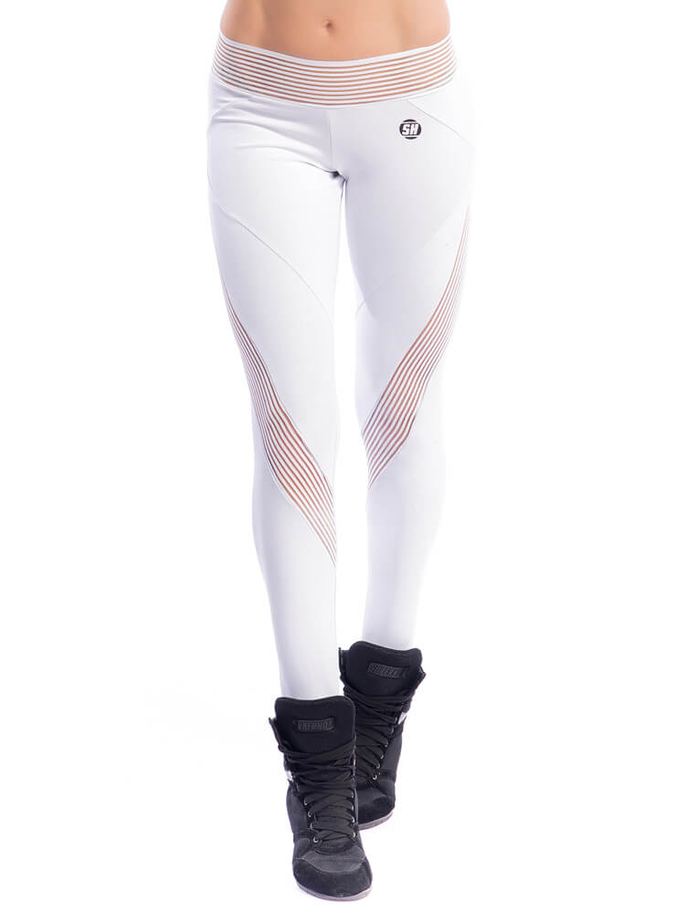 White Striped Mesh Legging - SUPERHOT - FitZee