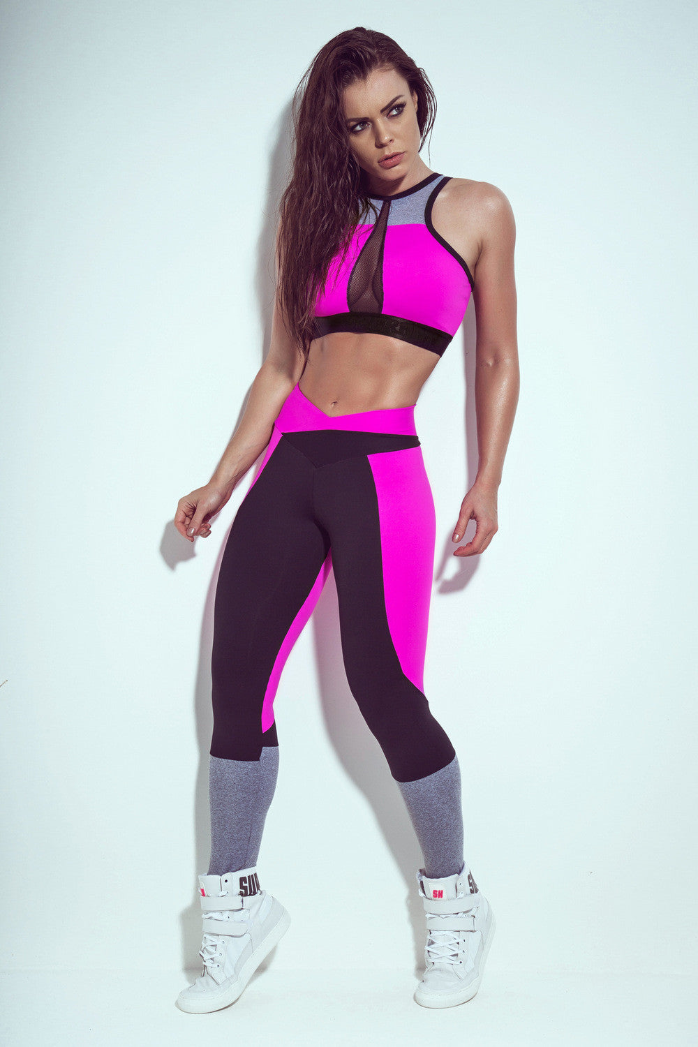 Training Legging- Black & Magenta - SUPERHOT - FitZee