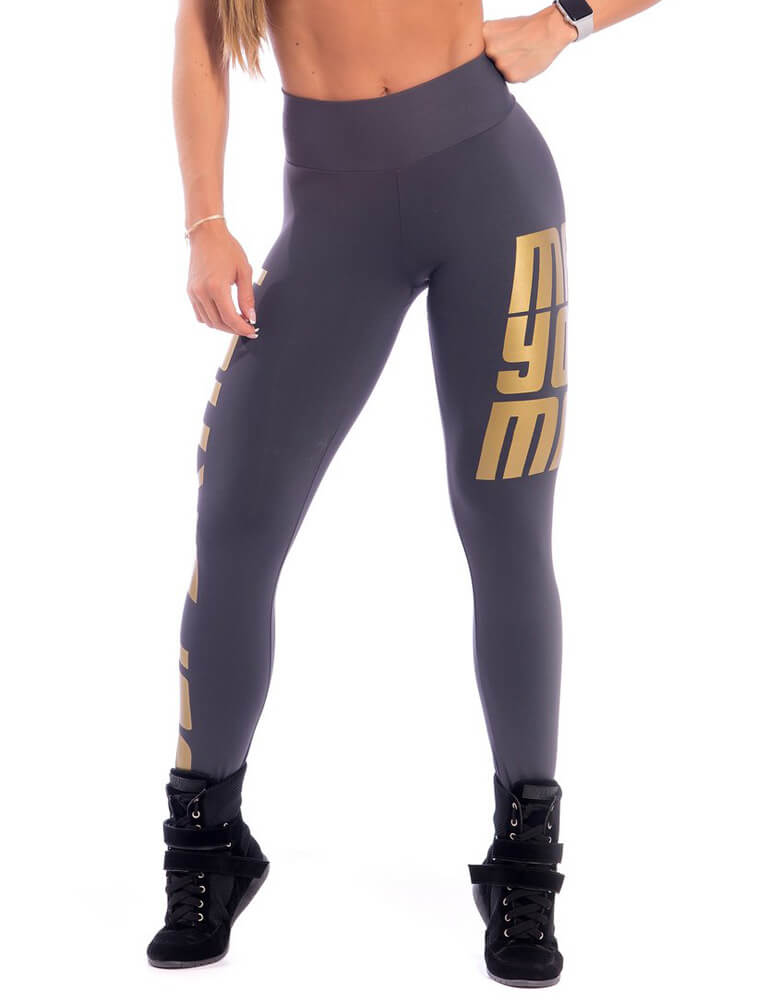 Make Your Mark Legging - Grey & Gold - SUPERHOT - FitZee