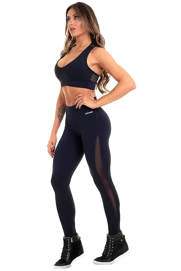 Black Polka Legging - Garota Fit - FitZee