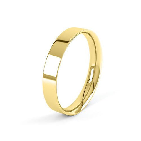 Flat Court Profile Wedding Band - U Finger Size, 18ct-rose-gold Metal, 3 Width