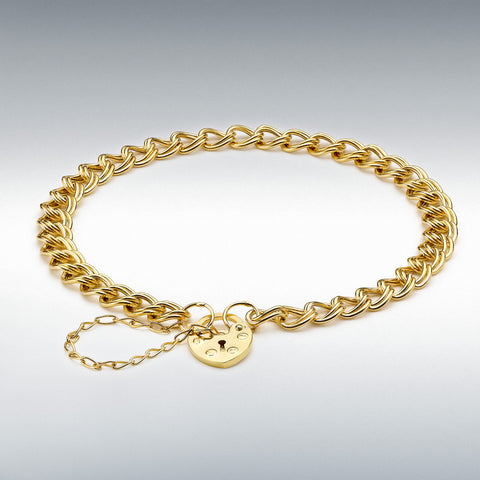 9CT YELLOW GOLD DOUBLE HOLLOW PANZA AND HEART PADLOCK BRACELET 18CM/7""