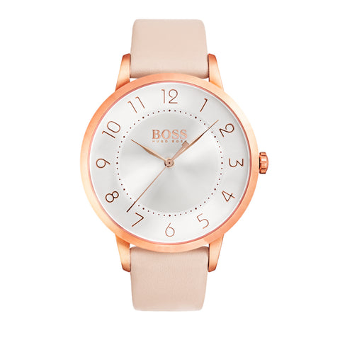 Hugo Boss Ladies Rose Gold Plated Pink Leather Strap Watch 1502407