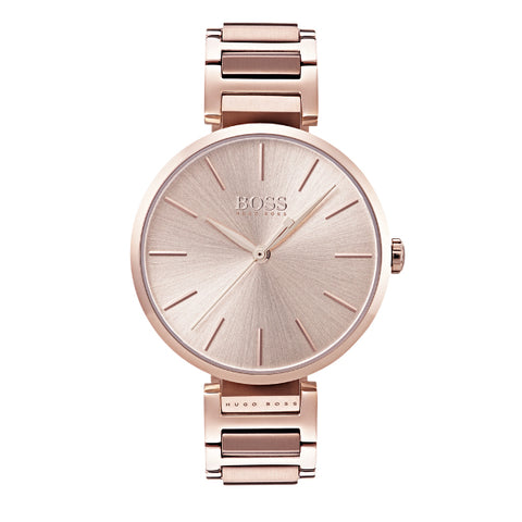 Hugo BossLadies Allusion Rose Gold Plated Bracelet Watch 1502418