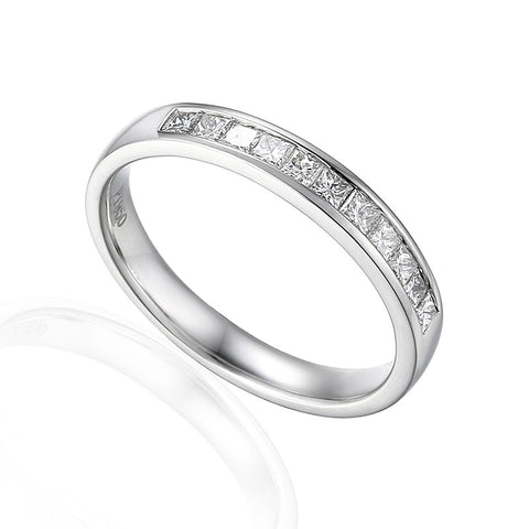 PRINCESS CUT DIAMOND WEDDING OR ETERNITY RING-Plain Wedding Band-Design Centre Jewellery