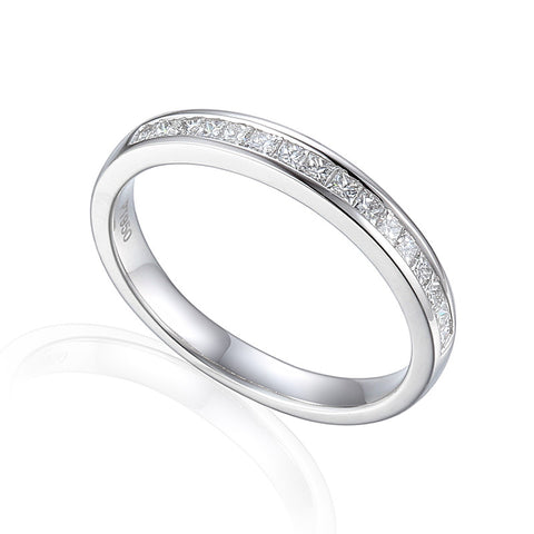 NARROW PRINCESS CUT CHANNEL SET ETERNITY OR WEDDING RING-Plain Wedding Band-Design Centre Jewellery