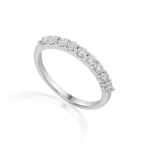 TRADITIONAL 9 STONE CLAW SET ETERNITY OR WEDDING RING-Plain Wedding Band-Design Centre Jewellery