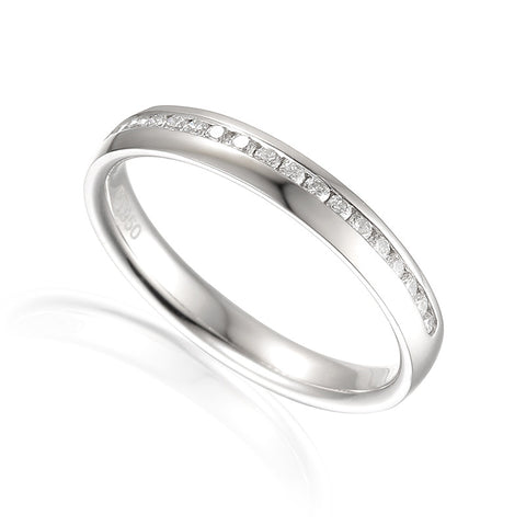 DIAMOND WEDDING BAND WITH OFFSET DIAMONDS-Plain Wedding Band-Design Centre Jewellery