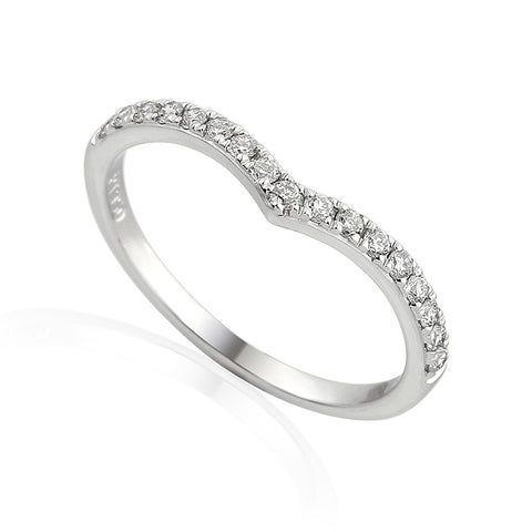 DIAMOND SET WISHBONE RING-Plain Wedding Band-Design Centre Jewellery