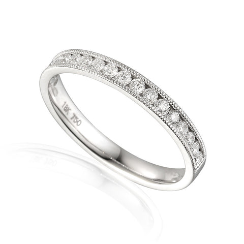 VINTAGE STYLE CHANNEL SET ETERNITY OR WEDDING RING WITH MILL GRAIN EDGE-Plain Wedding Band-Design Centre Jewellery