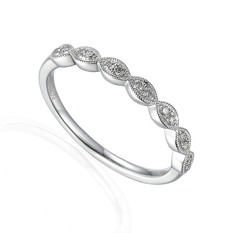 VINTAGE STYLE DIAMOND SET BAND-Plain Wedding Band-Design Centre Jewellery