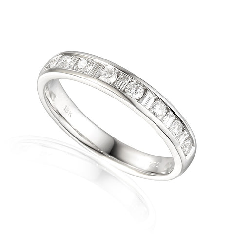 DIAMOND SET ROUND AND BAGUETTE CUT WEDDING OR ETERNITY BAND-Plain Wedding Band-Design Centre Jewellery