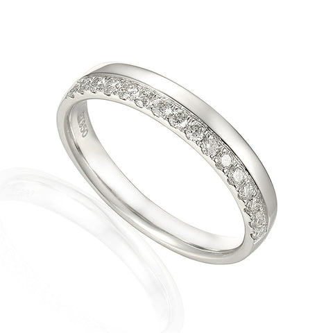 OFFSET DIAMOND WEDDING RING-Plain Wedding Band-Design Centre Jewellery