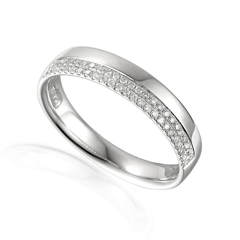 OFFSET DOUBLE ROW DIAMOND SET WEDDING RING-Plain Wedding Band-Design Centre Jewellery
