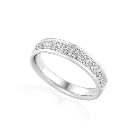 DOUBLE ROW DIAMOND SET ETERNITY OR WEDDING RING-Plain Wedding Band-Design Centre Jewellery