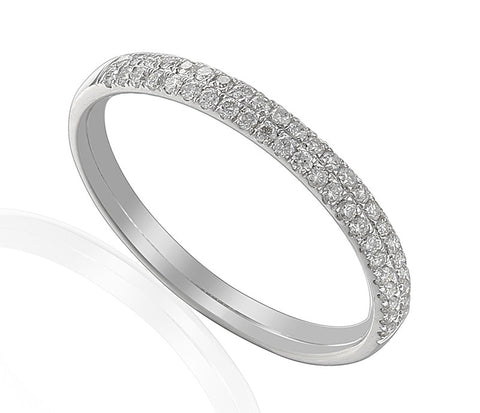 DOUBLE ROW PAVE SET DIAMOND RING-Plain Wedding Band-Design Centre Jewellery