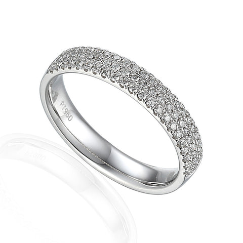 THREE ROW DIAMOND SET ETERNITY OR WEDDING RING-Plain Wedding Band-Design Centre Jewellery