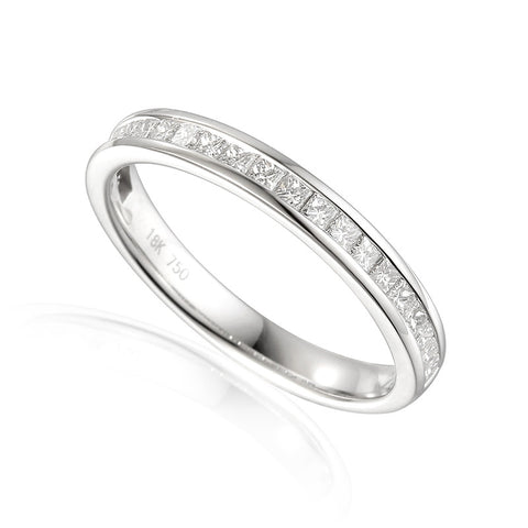 CHANNEL SET PRINCESS CUT DIAMOND ETERNITY OR WEDDING RING