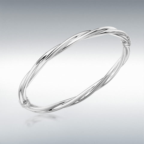 9CT WHITE GOLD TWIST TUBE BANGLE